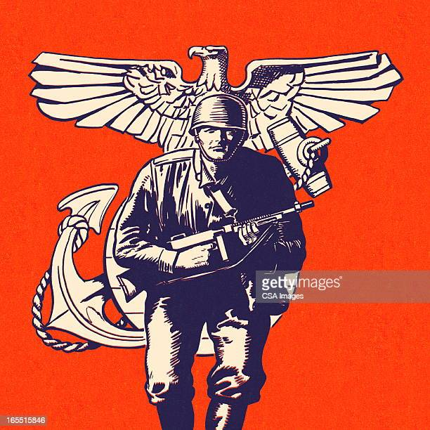 military soldier - army helmet stock illustrations, clip art, cartoons, & icons
