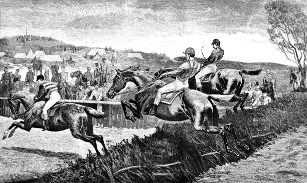 Military steeplechase (Victorian engraving)