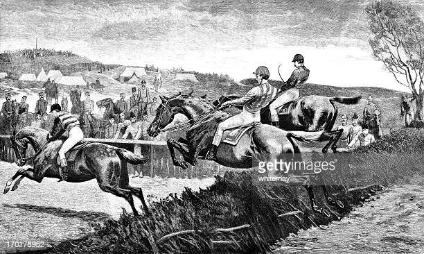 military steeplechase (victorian engraving) - 19th century stock illustrations