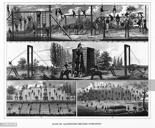 military training and gymnastics engraving - marines military stock illustrations, clip art, cartoons, & icons