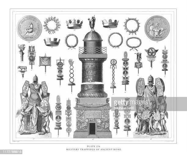 military trappings of ancient rome engraving antique illustration, published 1851 - etruscan stock illustrations