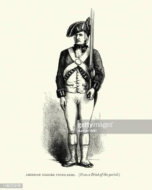 ilustrações, clipart, desenhos animados e ícones de soldado americano do patriot do uniforme militar, guerra revolucionária americana - american revolution