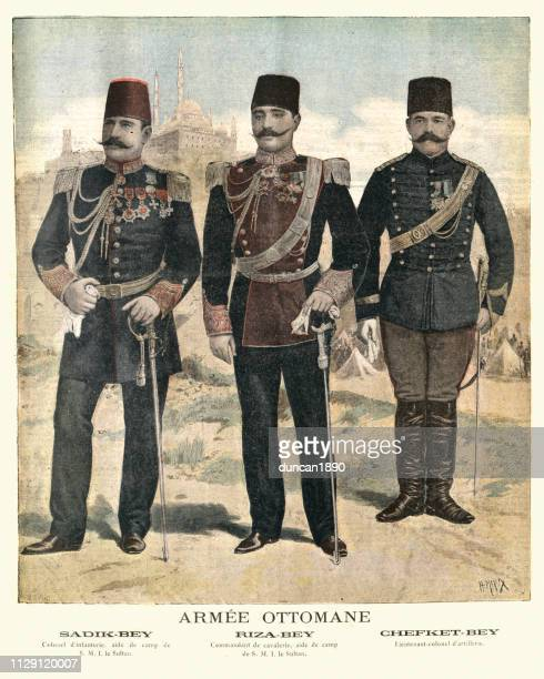 military uniforms, officers in the ottoman army, 19th century, 1895 - ottoman empire stock illustrations