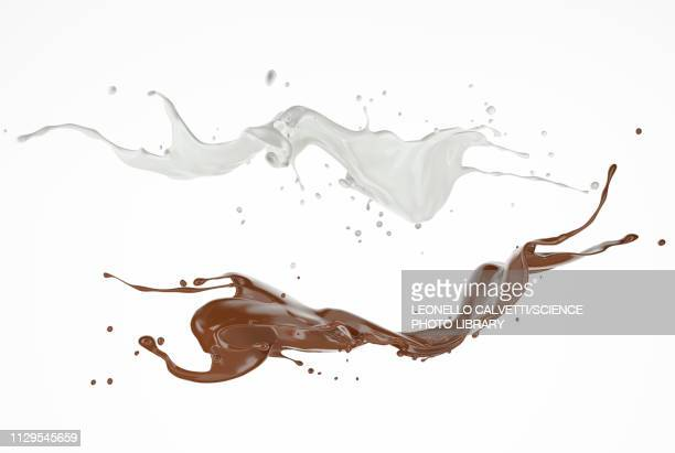 milk and chocolate splashes in the air, illustration - spritzer stock-grafiken, -clipart, -cartoons und -symbole