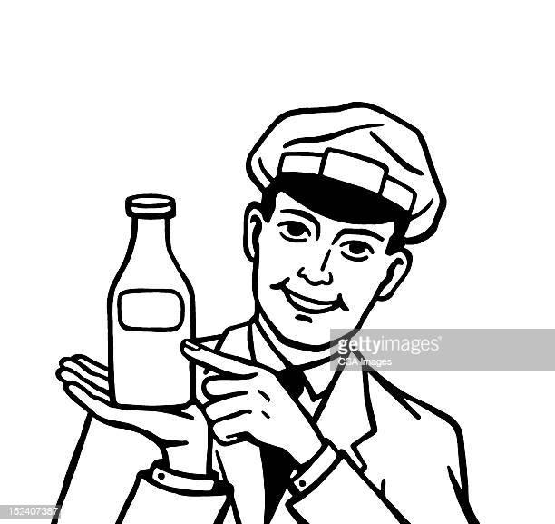 ilustraciones, imágenes clip art, dibujos animados e iconos de stock de repartidor de leche botella de retención - botella de leche