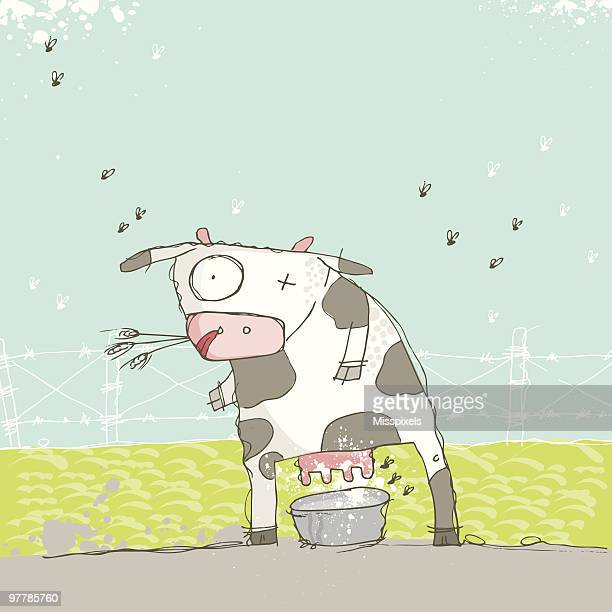 milky cow - milking stock illustrations, clip art, cartoons, & icons