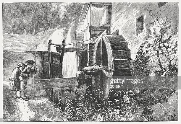 ilustraciones, imágenes clip art, dibujos animados e iconos de stock de mill en el valle, publicado en 1873 - molino de viento