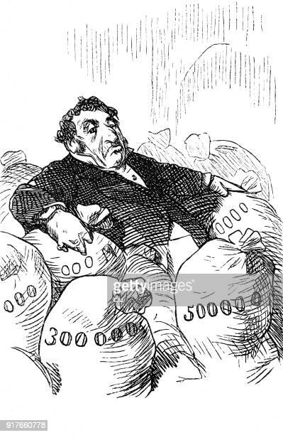 millionaire sitting in the middle of their wallets - millionnaire stock illustrations, clip art, cartoons, & icons