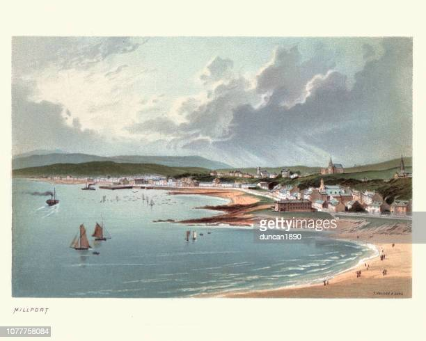 millport, cumbrae, scotland 19th century - clyde river stock illustrations, clip art, cartoons, & icons