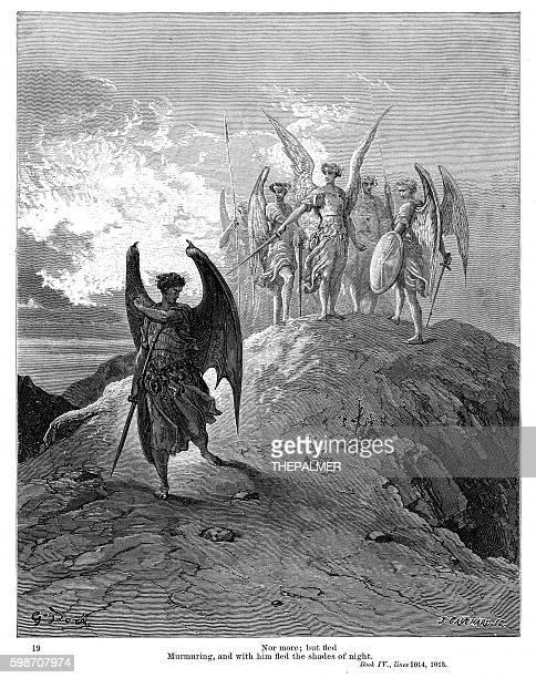 milton paradise summoned regiments 1885 - john milton stock illustrations, clip art, cartoons, & icons