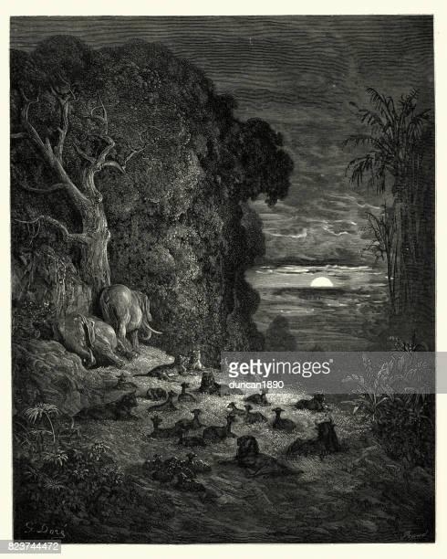 milton's paradise lost - and now on earth - john milton stock illustrations, clip art, cartoons, & icons