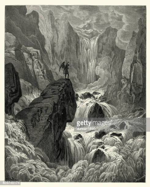 milton's paradise lost - and with is rose, satan - rapid stock illustrations