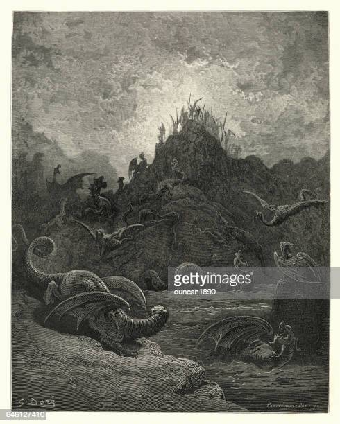 milton's paradise lost - gorgons, and hydras and chimeras dire - john milton stock illustrations, clip art, cartoons, & icons