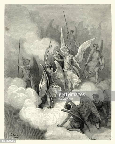 milton's paradise lost - greeting on thy impious crest receive - john milton stock illustrations, clip art, cartoons, & icons