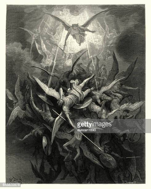 milton's paradise lost -  gustave dore - almightly power - gustave dore stock illustrations, clip art, cartoons, & icons