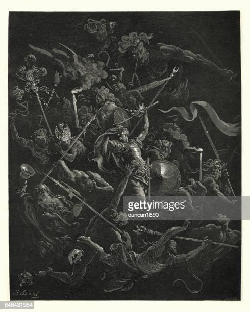 milton's paradise lost -  gustave dore idiots, eremites and friars - john milton stock illustrations, clip art, cartoons, & icons