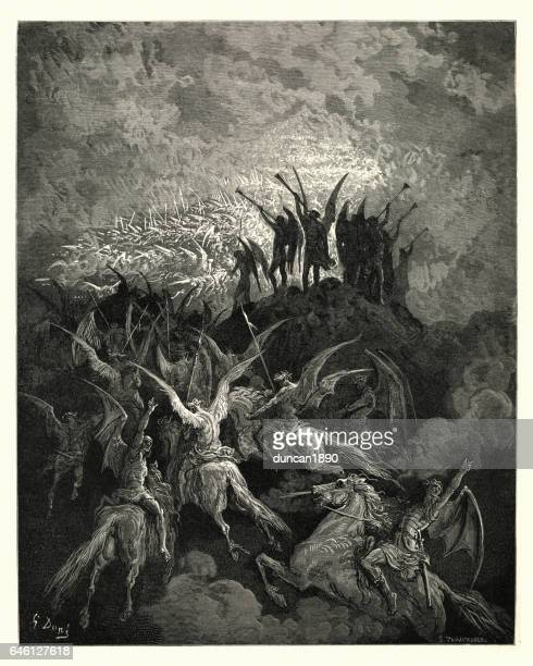 milton's paradise lost -  gustave dore - their summons called - john milton stock illustrations, clip art, cartoons, & icons
