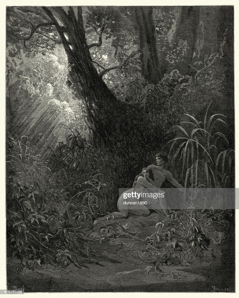 El paraíso perdido de Milton - se escondieron entre, los árboles más gruesos : Ilustración de stock