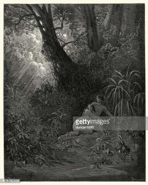illustrazioni stock, clip art, cartoni animati e icone di tendenza di milton's paradise lost - si nascose amoung, gli alberi più spessi - adamo e eva