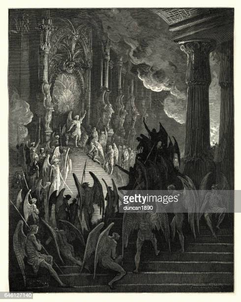 milton's paradise lost high on a throne of royal state - john milton stock illustrations, clip art, cartoons, & icons