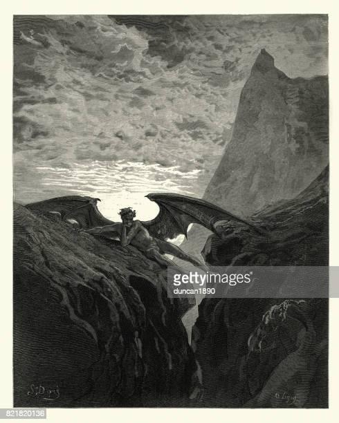 milton's paradise lost - now night her course began - john milton stock illustrations, clip art, cartoons, & icons