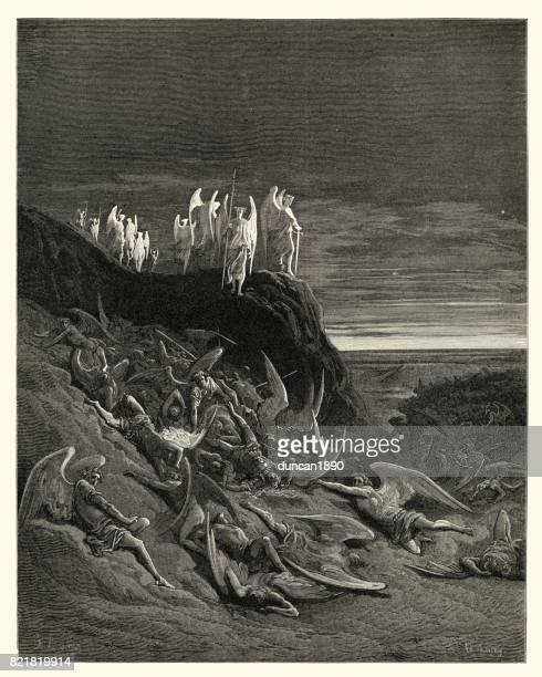 milton's paradise lost - on the foughten field - defeat stock illustrations