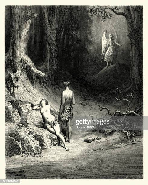 milton's paradise lost - some natural tears they dropt - adam biblical figure stock illustrations, clip art, cartoons, & icons