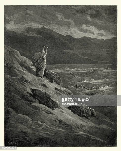 milton's paradise lost -  they beseech, that moses - john milton stock illustrations, clip art, cartoons, & icons