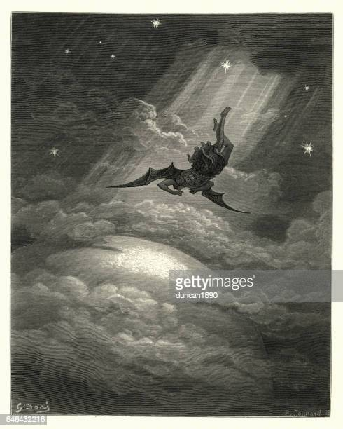 milton's paradise lost -  towards the coast of earth beneath - heaven stock illustrations