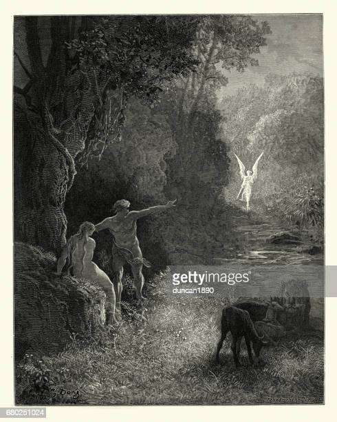 milton's paradise lost -  what glorious shape - gustave dore stock illustrations, clip art, cartoons, & icons