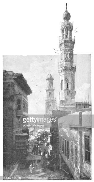 Minarets along the Street in Cairo, Egypt - Ottoman Empire