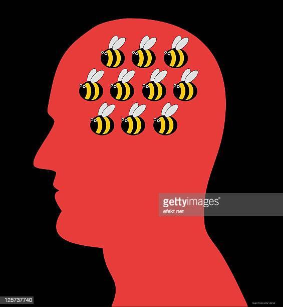 mind is buzzing - headshot stock illustrations