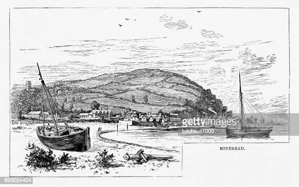 Minehead, Exmoor, England Victorian Engraving, 1840