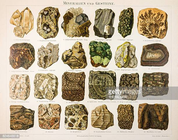 minerals and rocks engraving 1895 - marble rock stock illustrations, clip art, cartoons, & icons