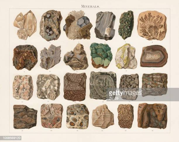 minerals and stones, lithograph, published in 1897 - dendrite stock illustrations
