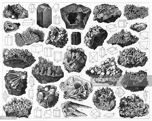Minerals and Their Crystalline Forms Engraving