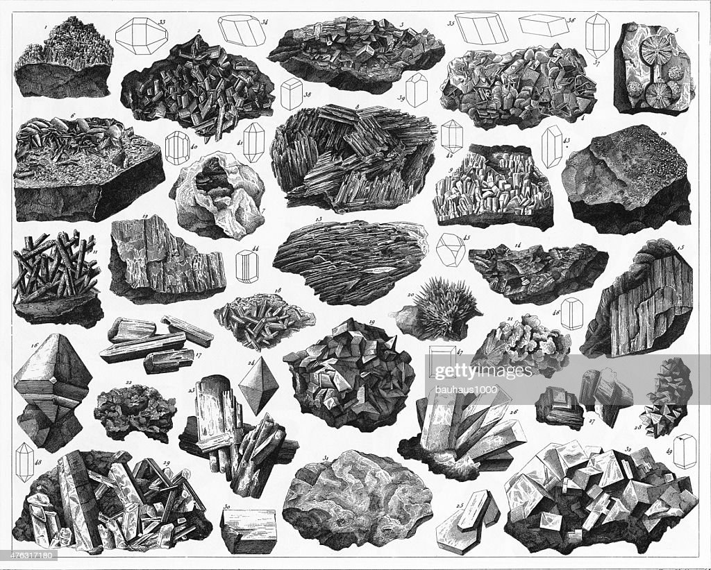 Minerals and Their Crystalline Forms Engraving : stock illustration