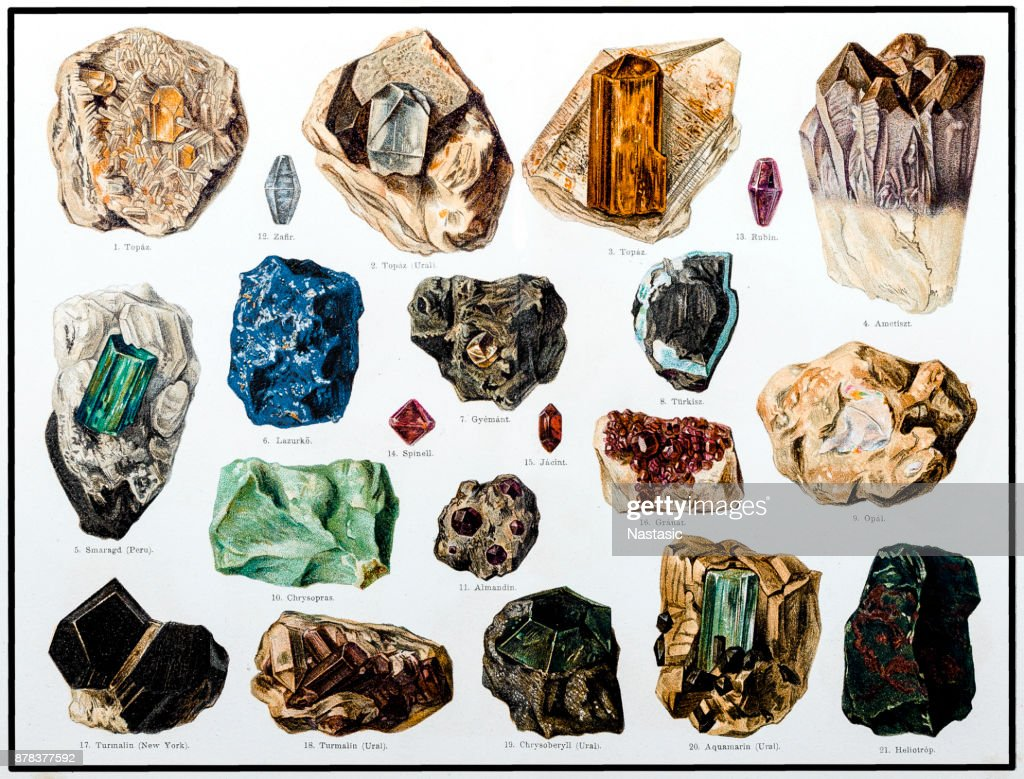 Minerals and Their Crystalline Forms : stock illustration