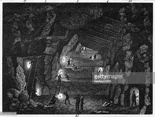 miners engraving - coal mine stock illustrations