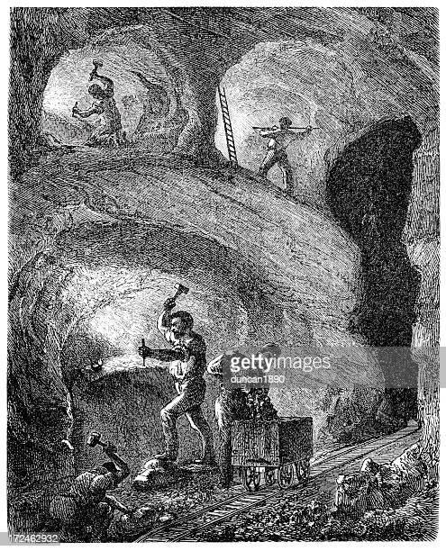illustrazioni stock, clip art, cartoni animati e icone di tendenza di miners - industrial revolution