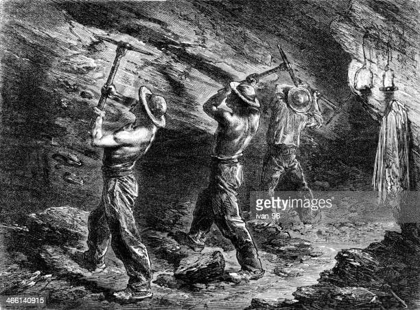 miners in a coal-mine - coal mine stock illustrations