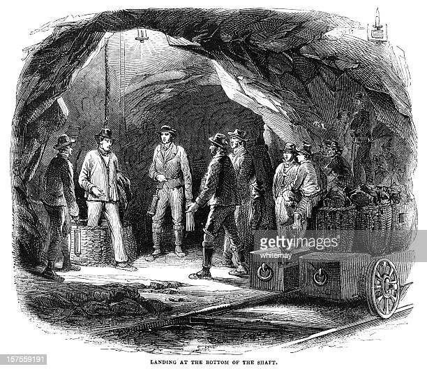 miners in a newcastle coal-mine - 1855 illustration - coal mine stock illustrations