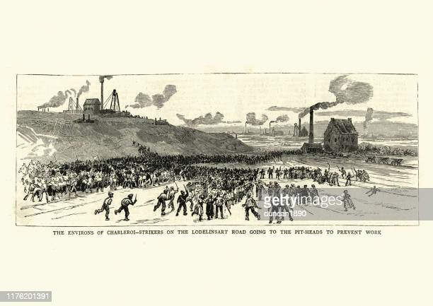 miners strike in belgium, 1886, 19th century - striker stock illustrations
