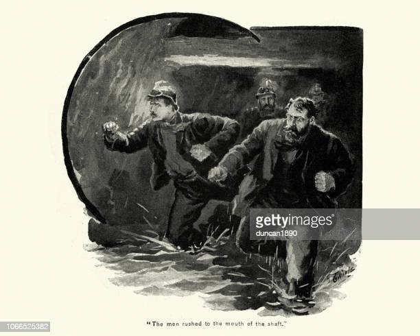 miners trying to escape from a flooding mine shaft, victorian - mining accident stock illustrations