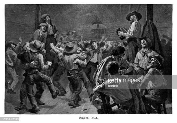 miners's ball - cowboy stock illustrations, clip art, cartoons, & icons