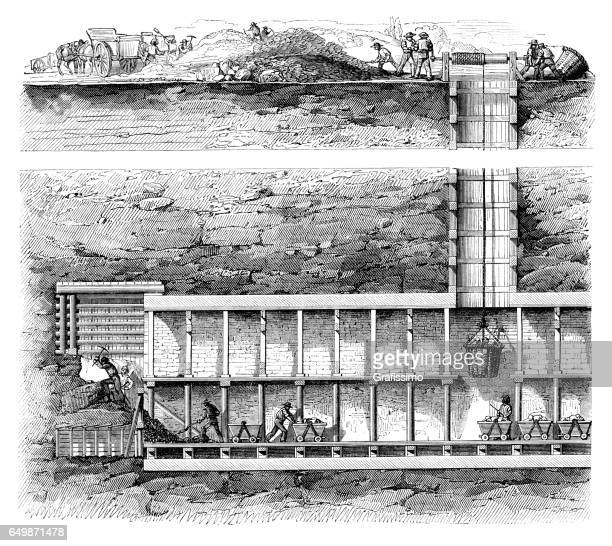 Mineworkers working in coal mine 1861