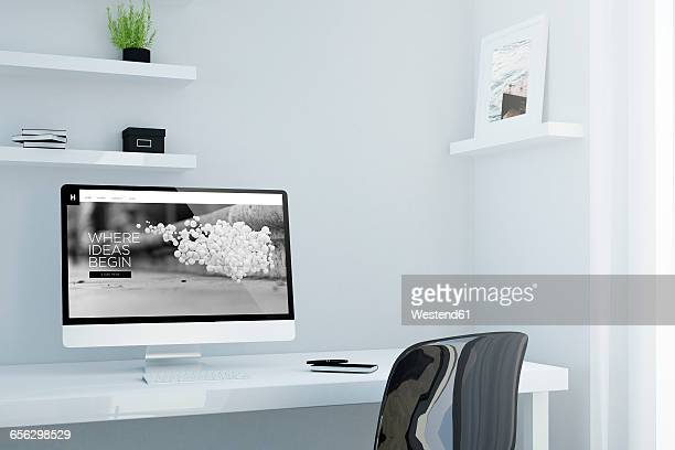 Minimalist workspace, studio for designer or creative professional, 3D Rendering