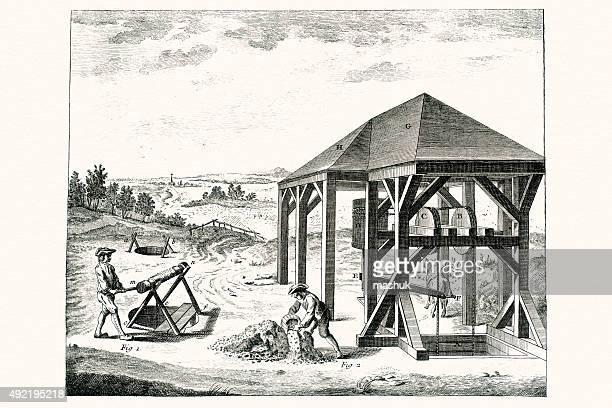 Mining equipment of 18 century, Diderot Encyclopedia