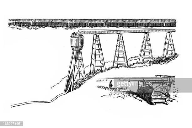 mining gold, water pipe to the mines - sluice stock illustrations
