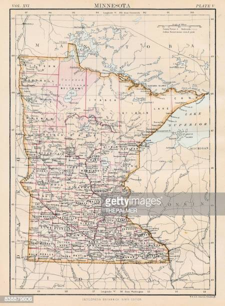 minnesota map 1883 - minnesota stock illustrations